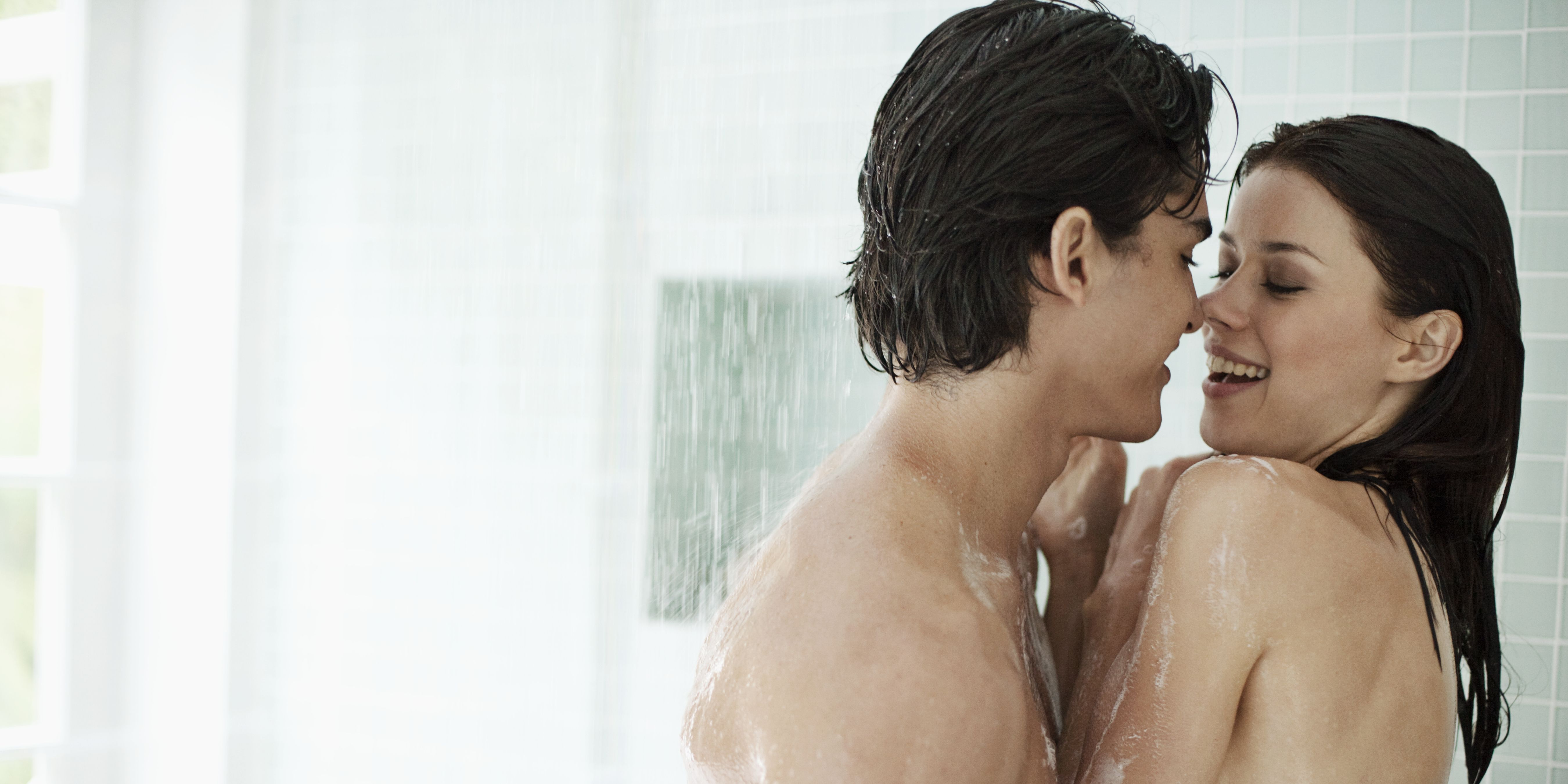 Affectionate couple in shower