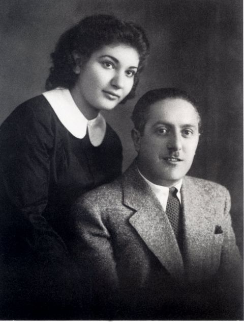 Portrait of singer Maria callas (1923-1977) around 1938 with her father chemist George Kalogheropoulos in New York