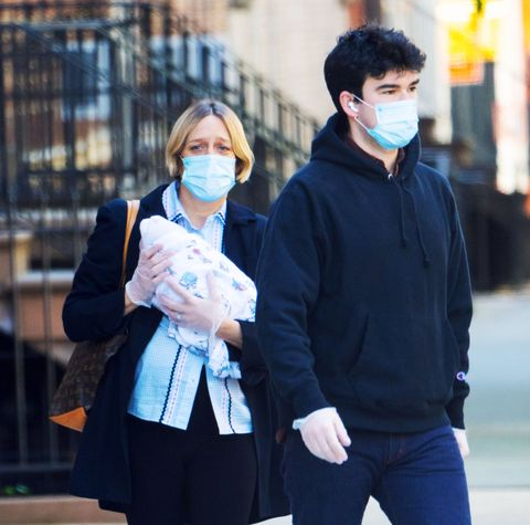 05132020 exclusive chloe sevigny is pictured out and about with her newborn  2 weeks after giving birth in new york city with partner sinisa mackovic the 45 year old actress cradled her baby boy while wearing a face mask, rubber gloves, black blazer, and bell bottoms salestheimagedirectcom please bylinetheimagedirectcomexclusive please email salestheimagedirectcom for fees before use