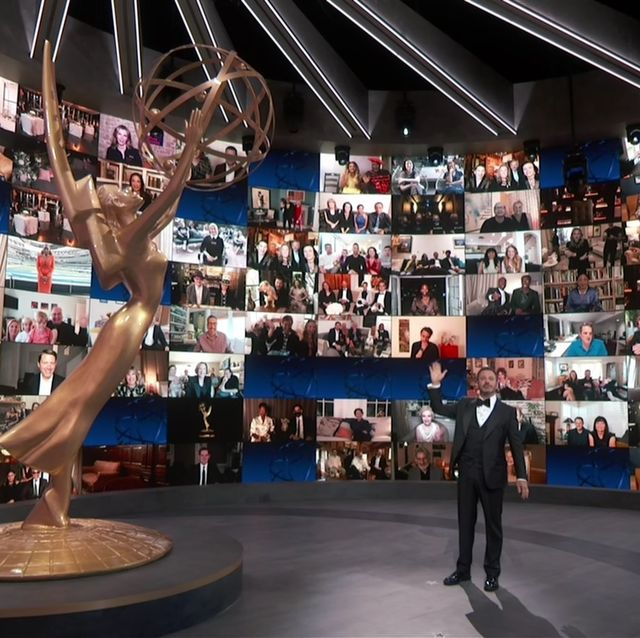host jimmy kimmel speaks on stage during the 72nd emmy awards telecast on sunday, sept 20, 2020 at 800 pm edt500 pm pdt on abc invision for the television academyap