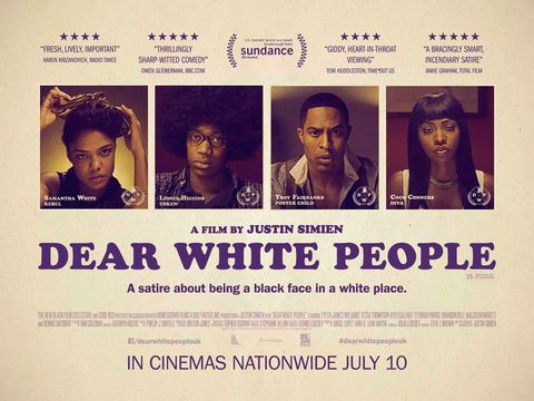 DEAR WHITE PEOPLE, British poster art, from left: Tessa Thompson, Tyler James Williams, Brandon P