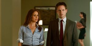 SUITS, (from left): Meghan Markle, Patrick J. Adams, 'Identity Crisis', (Season 1, ep. 108, aired Au
