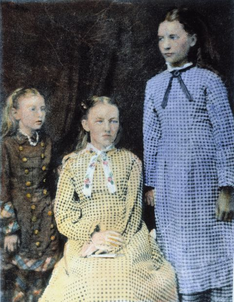 laura ingalls wilder n1867 1957 standing, with her sisters carrie, left, and mary, center oil over a photograph, c1880