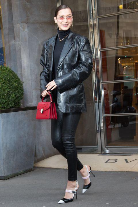 Clothing, Leather, Street fashion, Leather jacket, Jacket, Footwear, Fashion, Snapshot, Textile, Tights,
