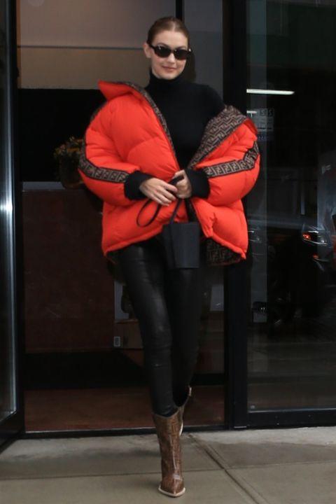 Red, Clothing, Orange, Fashion, Footwear, Leg, Outerwear, Fur, Textile, Jeans,