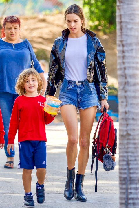*EXCLUSIVE* Super mom Alessandra Ambrosio picks up her kids from school