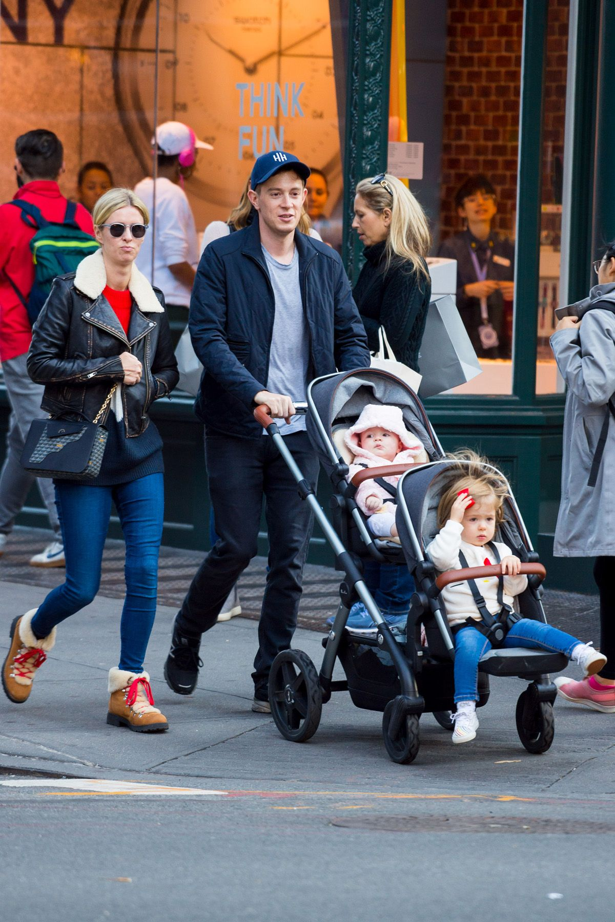 EXCLUSIVE: Nicky Hilton And James Rothschild Are Seen Out For A Stroll With Their Children Lily And Teddy In New York City