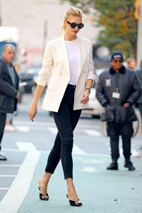 Clothing, Street fashion, White, Suit, Fashion, Eyewear, Outerwear, Blazer, Sunglasses, Snapshot,
