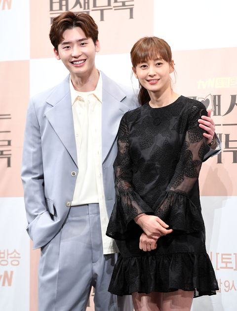 lee jong suk, lee na young attend the press conference of 'romance is a bonus book' at imperial palace hotel on january 21st in seoul, south korea photoosen