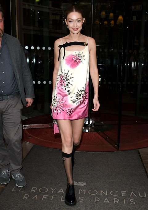 Fashion model, Clothing, Fashion, Shoulder, Dress, Pink, Cocktail dress, Fashion show, Leg, Joint,