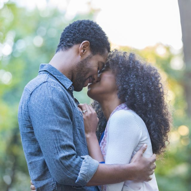 african american couple on date outdoors