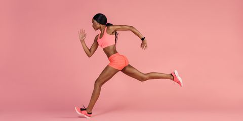 5fc7ddab1fb63 African female runner sprinting. jacoblundGetty Images. A good sports bra  should be like ...