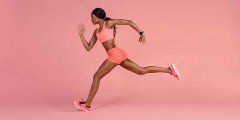 African female runner sprinting