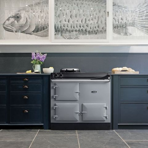 Grey AGA  range cooker among dark blue kitchen cabinets