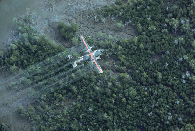 usaf uc 123k plane spraying delta area w dioxin tainted herbicidedefoliant agent orange, in vietnam war defensive measure 20 mi se of saigon  photo by dick swansonthe life images collection via getty imagesgetty images