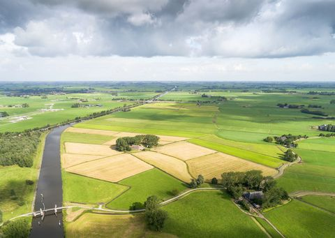 agricultural landscape with large canal in the netherlands seen from the air