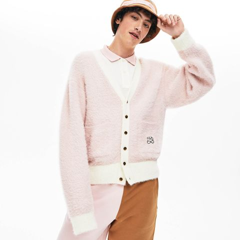 Clothing, White, Outerwear, Sweater, Cardigan, Sleeve, Neck, Pink, Button, Top,