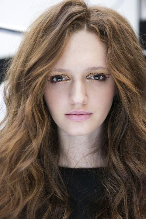 Hair, Face, Eyebrow, Hairstyle, Blond, Lip, Hair coloring, Long hair, Brown hair, Beauty,