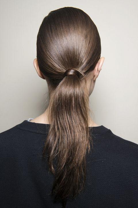 Hair, Hairstyle, Long hair, Beauty, Chin, Hair coloring, Brown hair, Neck, Chignon, Bun,