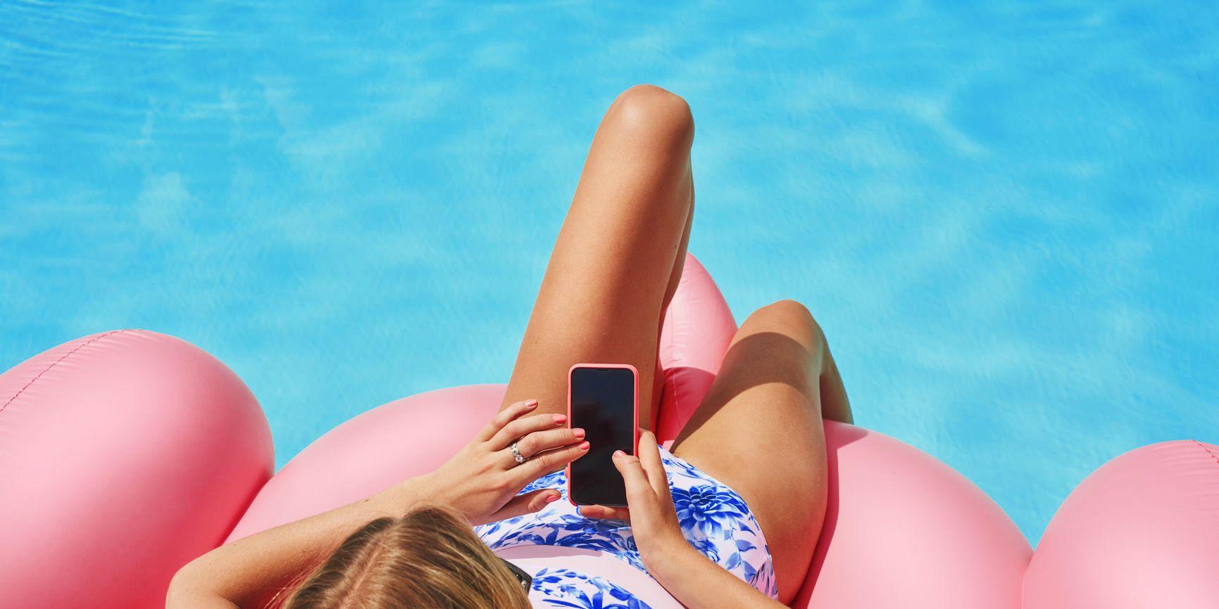 Beautiful Woman Using Smart Phone Technology  For Social Media O