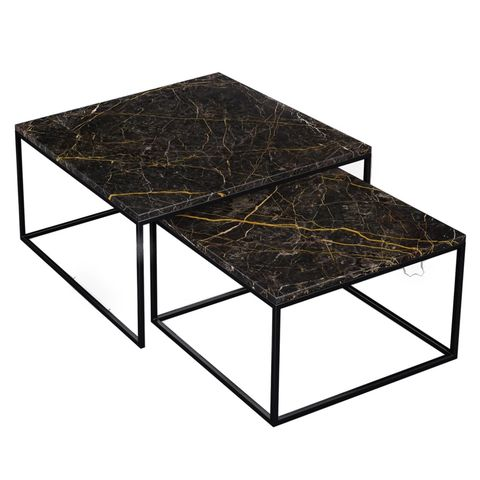 aime té marmeren salontafel set vierkant zwart goud