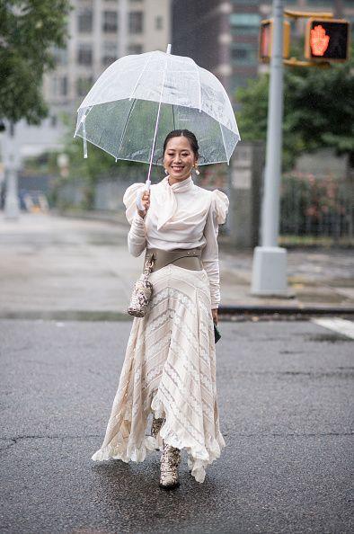 Umbrella, White, Street fashion, Fashion, Rain, Dress, Fashion accessory, Photography, Outerwear, Temple,