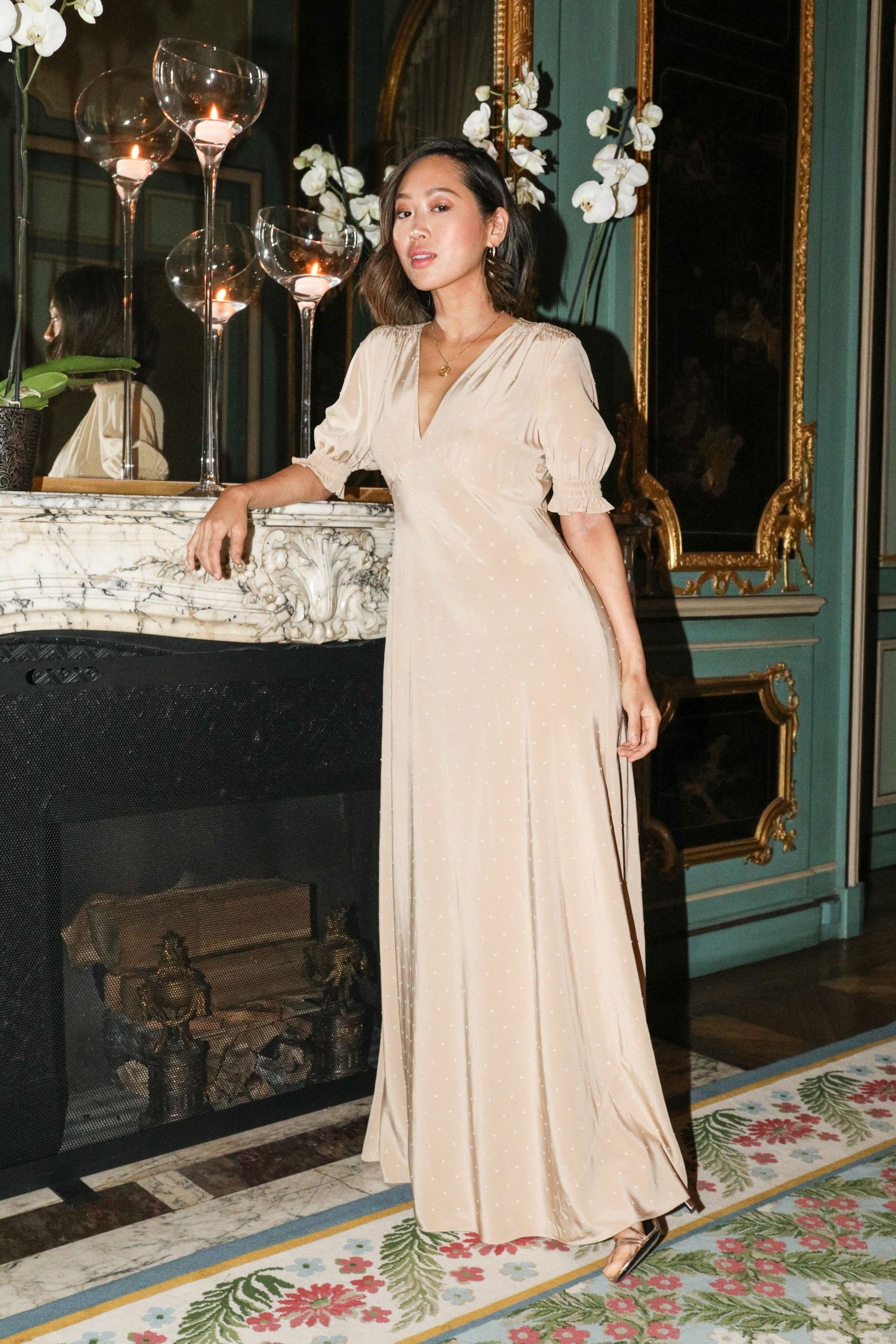 Aimee Song Aimee Song attends the Jamie D. McCourt and Diane von Furstenberg hosted cocktail reception in celebration of the forthcoming opening of the Statue of Liberty Museum on February 26 in Paris.
