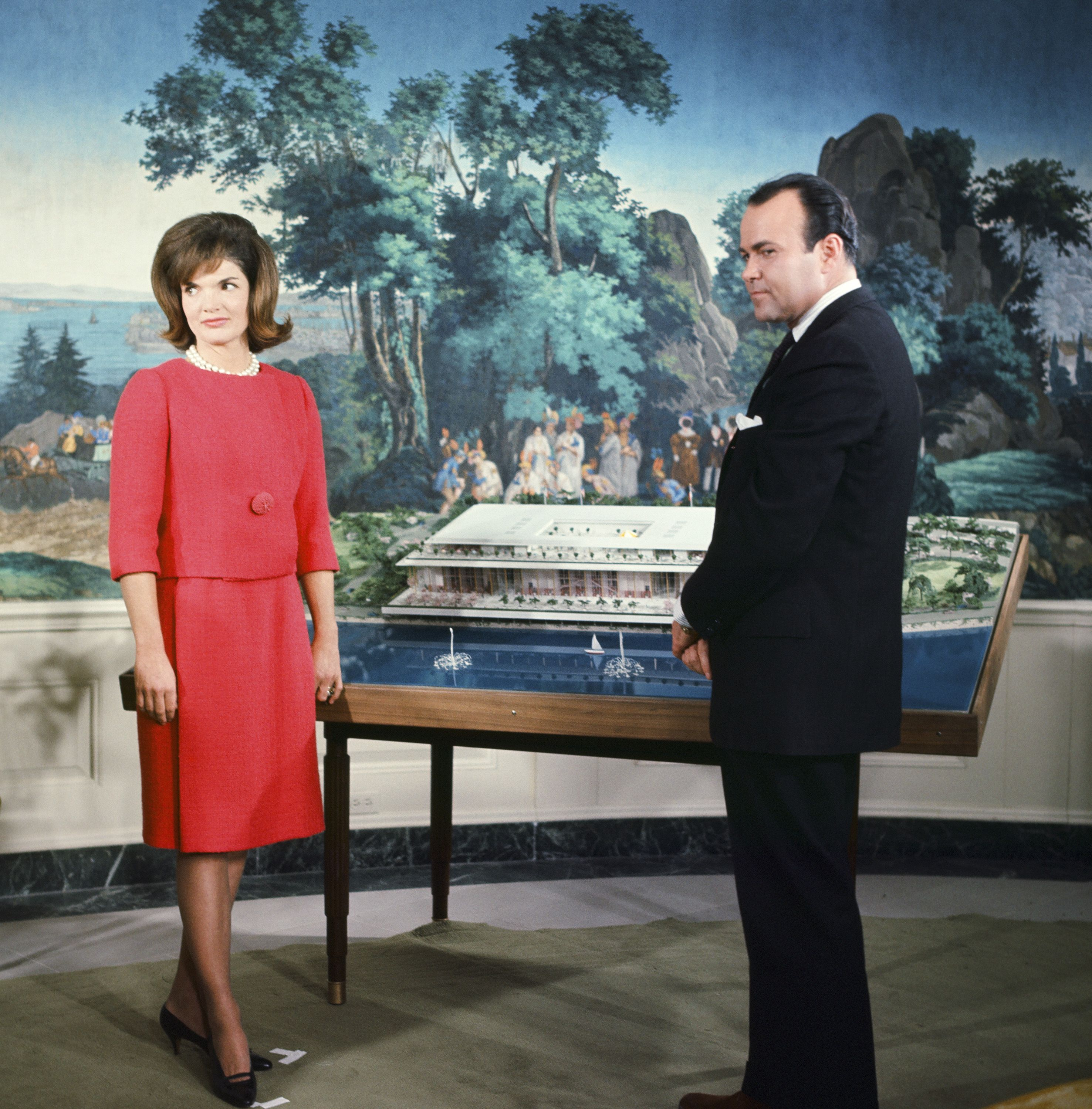 Jacqueline Kennedy hosts NBC News at the White House to discuss the original plans of the Kennedy Center (formerly known as the National Cultural Center).