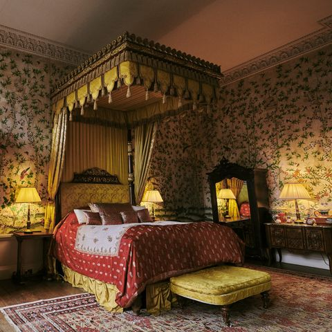 Room, Interior design, Furniture, Bed, Bedroom, Property, Building, Yellow, House, Suite,