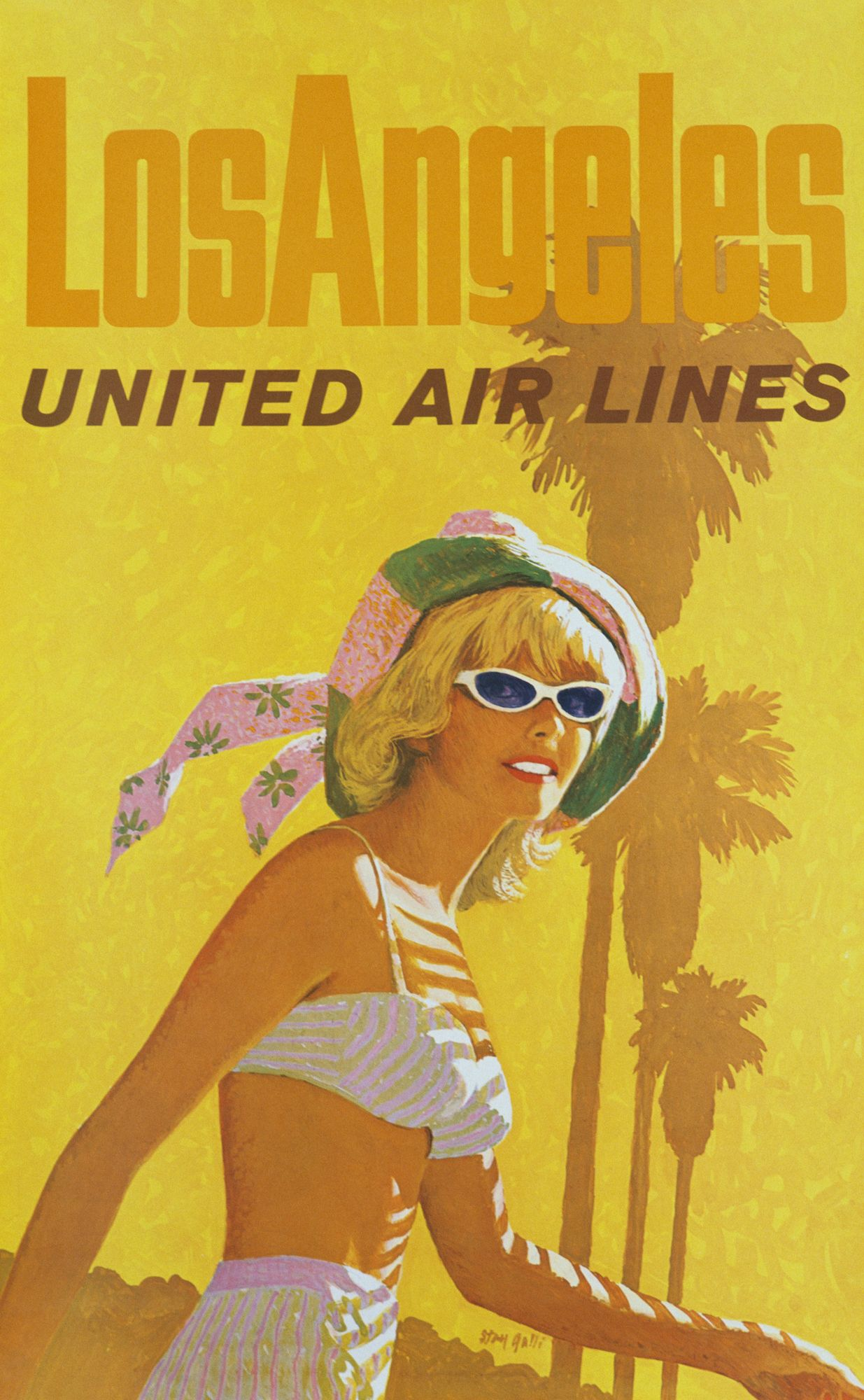 American Airlines Los Angeles 1960s Vintage Travel Poster Print