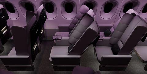 Purple, Design, Automotive design, Room, Airline, Furniture, Vehicle, Airplane,