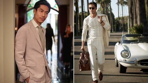 White, Suit, Classic, Vehicle, Fashion, Car, Formal wear, Street fashion, Beige, Dress,