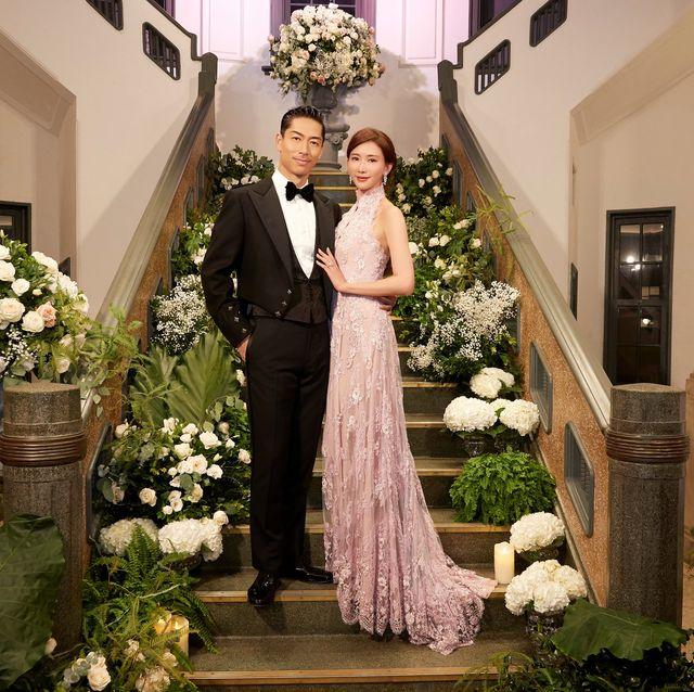 林志玲婚禮襯托幸福好氣色的粉紅蕾絲中式婚紗成亮點!盤點歷屆女星婚禮中少不了的中式禮服造型