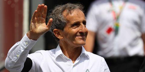 alain prost special advisor to renault sport f1 walks  in