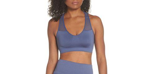 Clothing, Brassiere, Undergarment, Undergarment, Sports bra, Blue, Neck, Crop top, Electric blue, Waist,