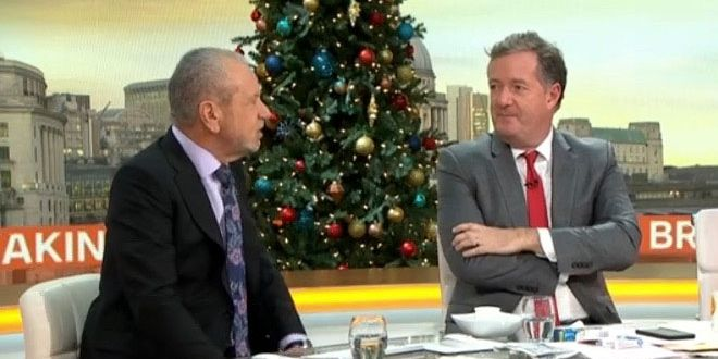Good Morning Britain's Piers Morgan apologises after Lord Alan Sugar swears live on the show - DigitalSpy.com