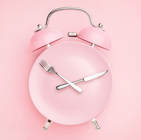 alarm clock and plate with cutlery  concept of intermittent fasting, lunchtime, diet and weight loss