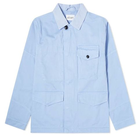 Clothing, Sleeve, Blue, White, Collar, Outerwear, Shirt, Pocket, Button, Jacket,
