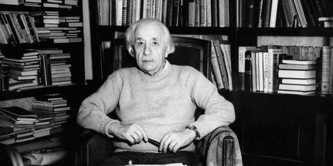 Albert Einstein Seated in Front of Bookcase