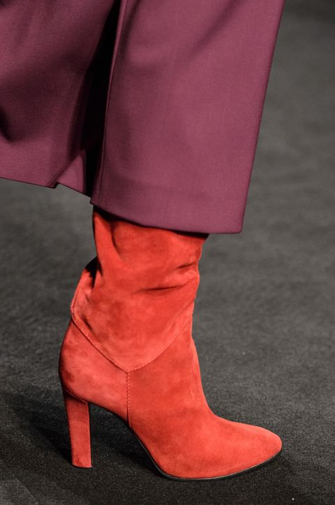 Footwear, Boot, Shoe, Red, Leather, High heels, Pink, Suede, Knee-high boot, Fashion,
