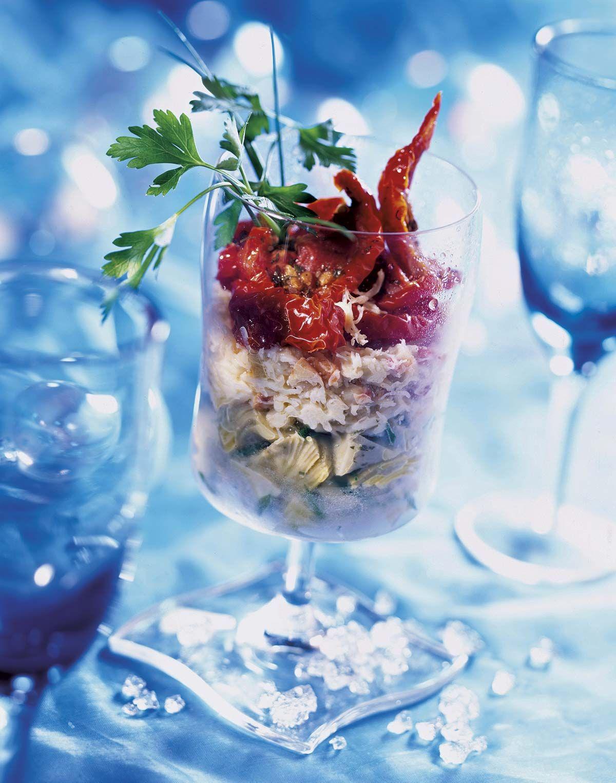 Menú Nochevieja: Alcachofas marinadas con cangrejo y tomates secos