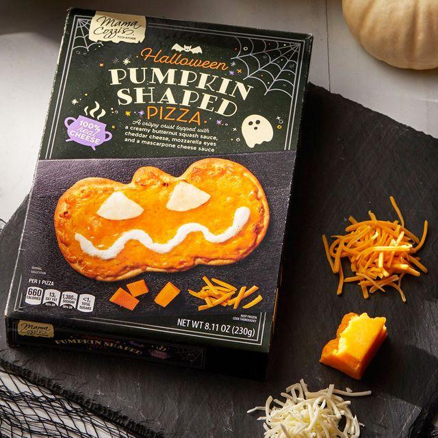 aldi mama cozzi's halloween pumpkin shaped pizza