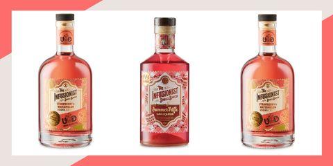 Liqueur, Drink, Bottle, Alcoholic beverage, Distilled beverage, Glass bottle, Alcohol, Rosolio, Ingredient,