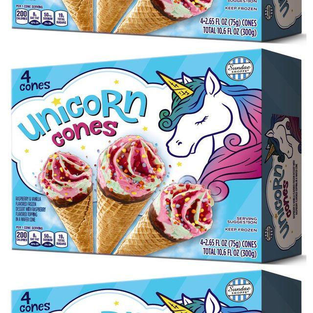 aldi sundae shopped unicorn ice cream cones