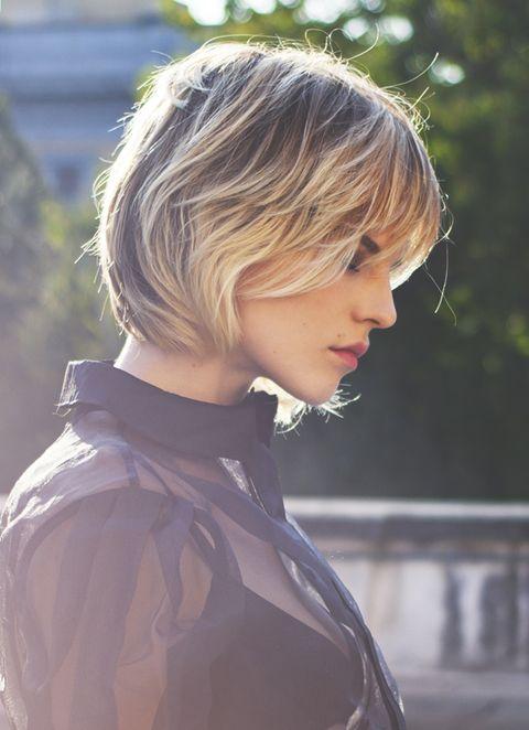 Hair, Hairstyle, Blond, Beauty, Chin, Bob cut, Bangs, Asymmetric cut, Layered hair, Brown hair,