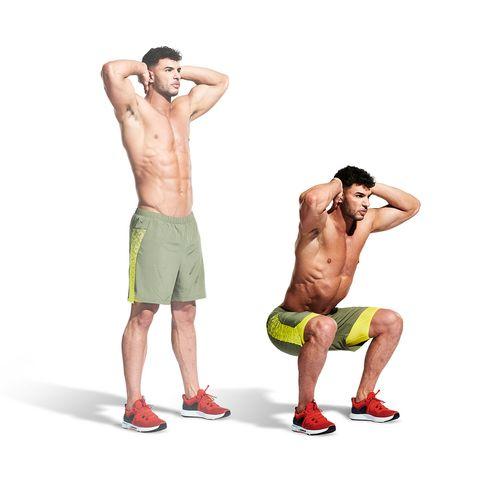 board short, Weights, Barechested, Muscle, Standing, Kettlebell, Shorts, Exercise equipment, Arm, Abdomen,