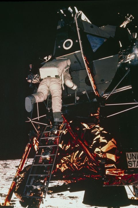 Apollo 11 astronaut Edwin �Buzz� Aldrin descending to the lunar surface, 1969.