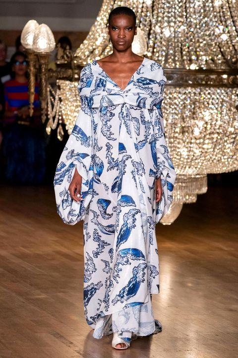 Fashion, Clothing, Fashion model, Runway, Blue, Haute couture, Fashion show, Fashion design, Dress, Textile,