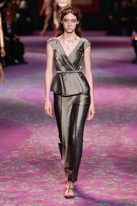 Fashion model, Fashion, Fashion show, Runway, Clothing, Haute couture, Event, Public event, Dress, Fashion design,
