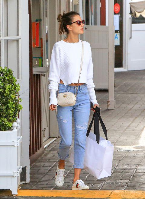 Clothing, White, Jeans, Street fashion, Denim, Shoulder, Fashion, Footwear, Outerwear, Shoe,
